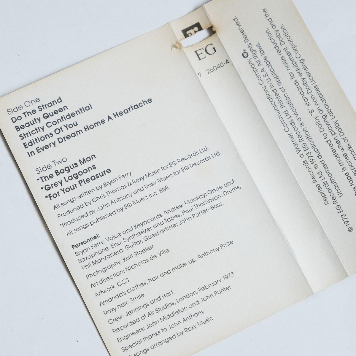 《US版カセットテープ》Roxy Music●For Your Pleasure●ロキシー ミュージック●フォー ユア プレジャー_画像8