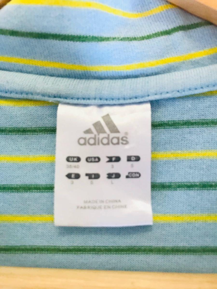adidas アディダス ボーダーポロシャツ
