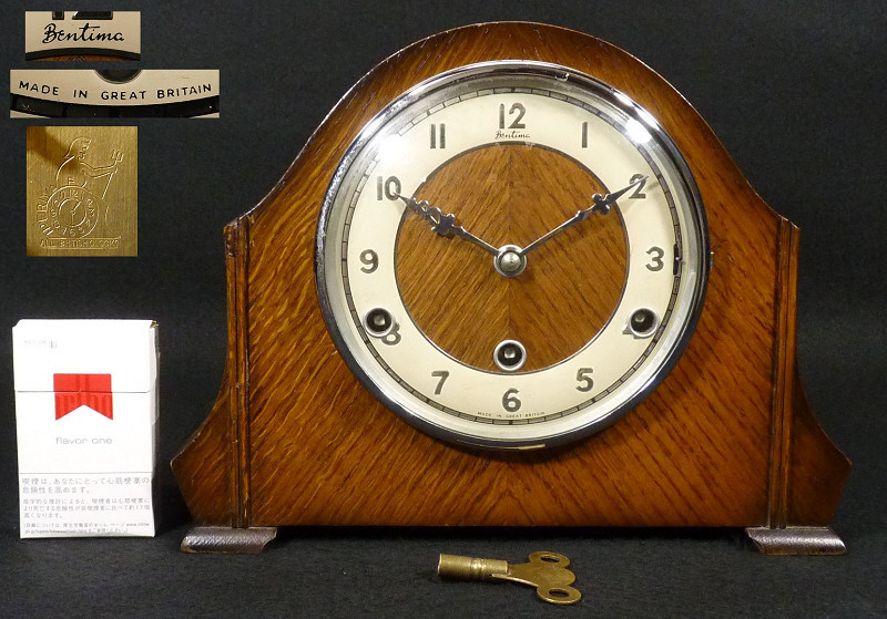 《VP》イギリス製 Bentima ウエストミンスターチャイム 振り子置時計 15分打 完動品