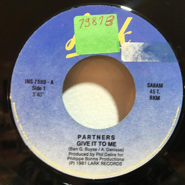 ☆Partners/Give It To Me☆ベルギー産FUNK/BOOGIE!7inch 45_画像2