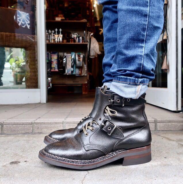 [ブヒシューズ] カスタム/80' フランス軍/2バックルブーツ/約25.5cm/黒/革靴/ミリタリー/ミリタリーブーツ/ビンテージ/カスタムブーツ_画像10