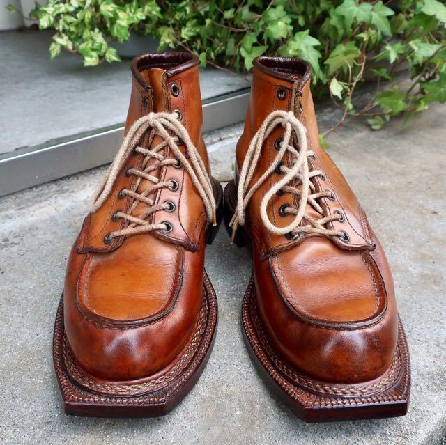 [ブヒシューズ] カスタム/Redwing/レッドウィング/US10D (約27.5-28cm)/茶/革靴/ワークブーツ/モックトゥ/カスタムブーツ/グッドイヤー製法_画像6