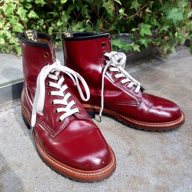 [ブヒシューズ] カスタム/Dr.martens/ドクターマーチン/UK6 (約24.5cm)/ボルドー/革靴/ワークブーツ/8ホール/カスタムブーツ_画像1