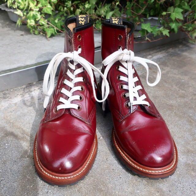 [ブヒシューズ] カスタム/Dr.martens/ドクターマーチン/UK6 (約24.5cm)/ボルドー/革靴/ワークブーツ/8ホール/カスタムブーツ_画像2
