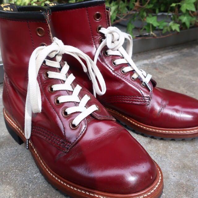 [ブヒシューズ] カスタム/Dr.martens/ドクターマーチン/UK6 (約24.5cm)/ボルドー/革靴/ワークブーツ/8ホール/カスタムブーツ_画像3
