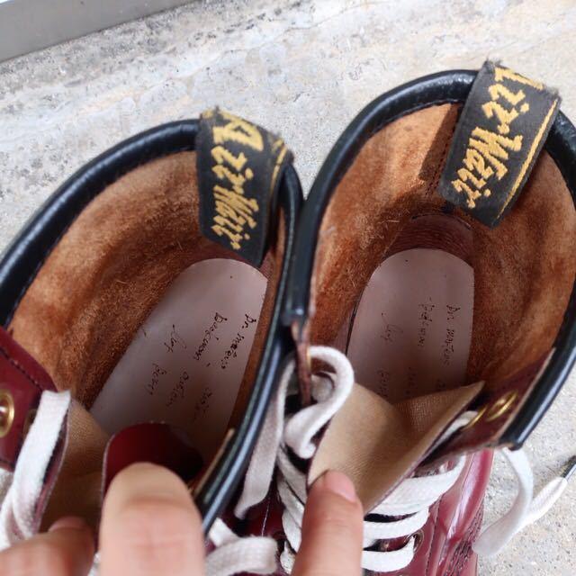 [ブヒシューズ] カスタム/Dr.martens/ドクターマーチン/UK6 (約24.5cm)/ボルドー/革靴/ワークブーツ/8ホール/カスタムブーツ_画像6