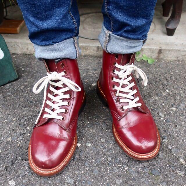 [ブヒシューズ] カスタム/Dr.martens/ドクターマーチン/UK6 (約24.5cm)/ボルドー/革靴/ワークブーツ/8ホール/カスタムブーツ_画像9
