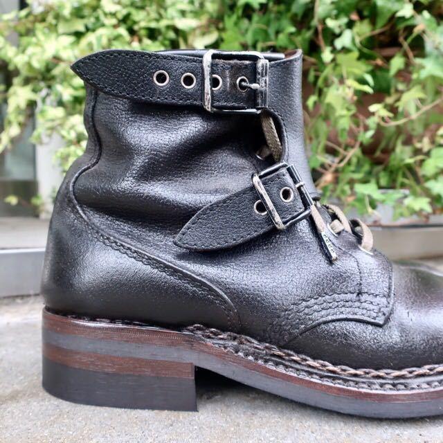[ブヒシューズ] カスタム/80' フランス軍/2バックルブーツ/約25.5cm/黒/革靴/ミリタリー/ミリタリーブーツ/ビンテージ/カスタムブーツ_画像4