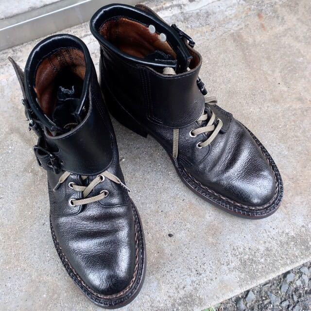[ブヒシューズ] カスタム/80' フランス軍/2バックルブーツ/約25.5cm/黒/革靴/ミリタリー/ミリタリーブーツ/ビンテージ/カスタムブーツ_画像9