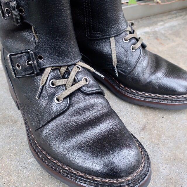 [ブヒシューズ] カスタム/80' フランス軍/2バックルブーツ/約25.5cm/黒/革靴/ミリタリー/ミリタリーブーツ/ビンテージ/カスタムブーツ_画像2