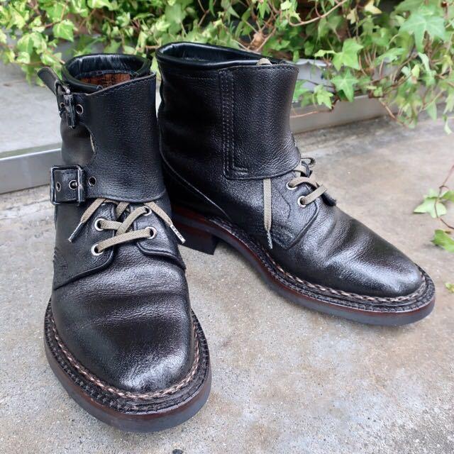 [ブヒシューズ] カスタム/80' フランス軍/2バックルブーツ/約25.5cm/黒/革靴/ミリタリー/ミリタリーブーツ/ビンテージ/カスタムブーツ_画像1