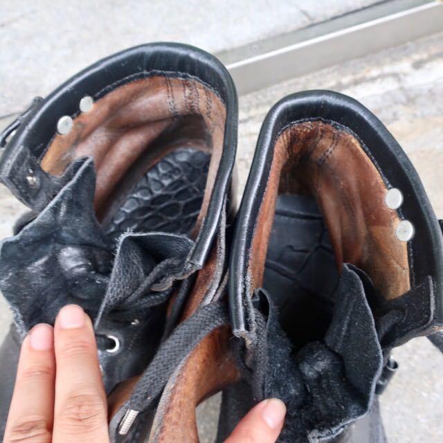 [ブヒシューズ] カスタム/80' フランス軍/2バックルブーツ/約25.5cm/黒/革靴/ミリタリー/ミリタリーブーツ/ビンテージ/カスタムブーツ_画像8
