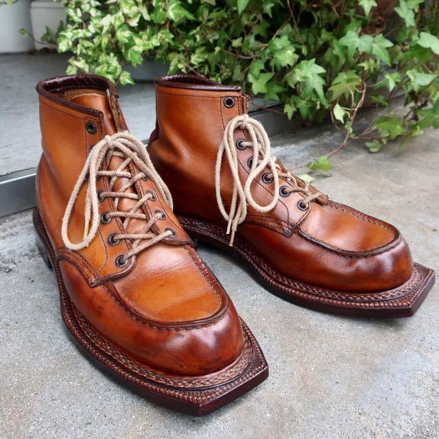 [ブヒシューズ] カスタム/Redwing/レッドウィング/US10D (約27.5-28cm)/茶/革靴/ワークブーツ/モックトゥ/カスタムブーツ/グッドイヤー製法_画像1