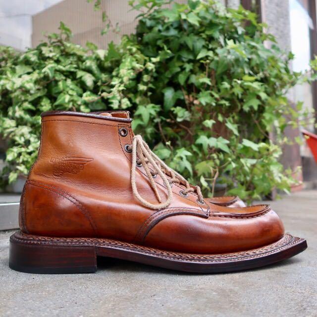 [ブヒシューズ] カスタム/Redwing/レッドウィング/US10D (約27.5-28cm)/茶/革靴/ワークブーツ/モックトゥ/カスタムブーツ/グッドイヤー製法_画像3