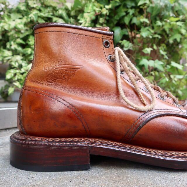 [ブヒシューズ] カスタム/Redwing/レッドウィング/US10D (約27.5-28cm)/茶/革靴/ワークブーツ/モックトゥ/カスタムブーツ/グッドイヤー製法_画像4