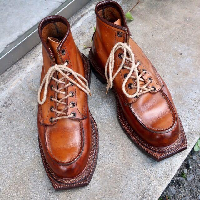 [ブヒシューズ] カスタム/Redwing/レッドウィング/US10D (約27.5-28cm)/茶/革靴/ワークブーツ/モックトゥ/カスタムブーツ/グッドイヤー製法_画像9