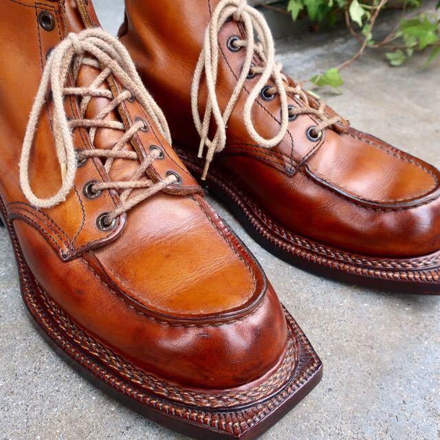[ブヒシューズ] カスタム/Redwing/レッドウィング/US10D (約27.5-28cm)/茶/革靴/ワークブーツ/モックトゥ/カスタムブーツ/グッドイヤー製法_画像2