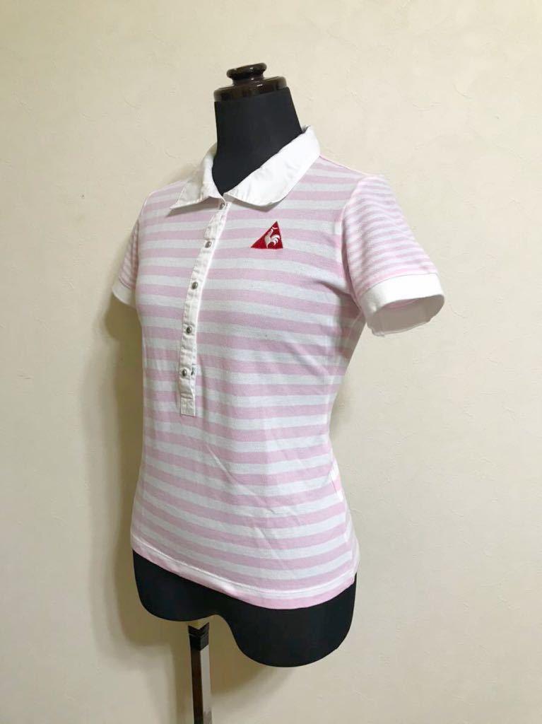 le coq sportif GOLF ルコック ゴルフ レディース ボーダー 鹿の子 ポロシャツ トップス サイズM 半袖 白 ピンク QGL1727 デサント_画像6