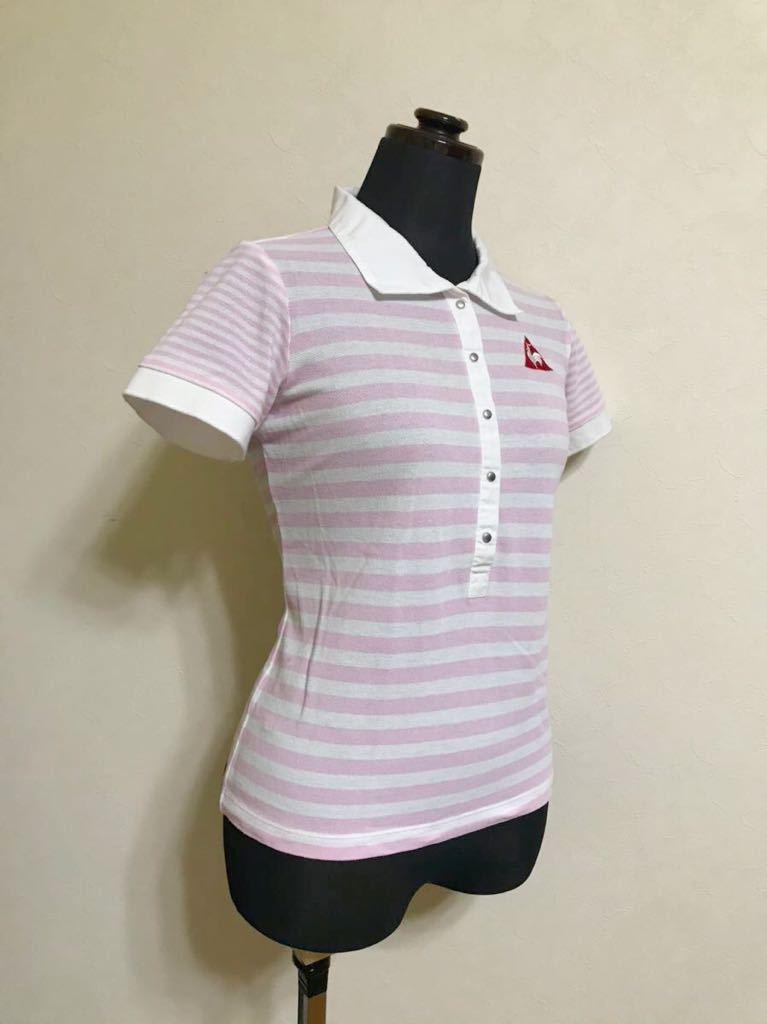 le coq sportif GOLF ルコック ゴルフ レディース ボーダー 鹿の子 ポロシャツ トップス サイズM 半袖 白 ピンク QGL1727 デサント_画像8
