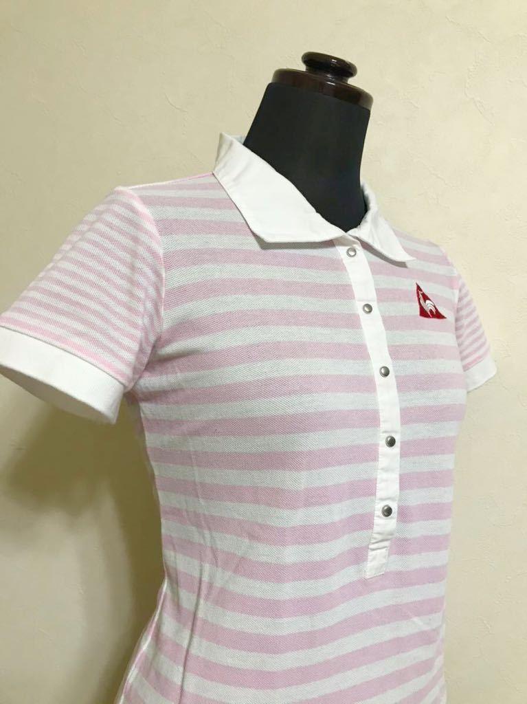 le coq sportif GOLF ルコック ゴルフ レディース ボーダー 鹿の子 ポロシャツ トップス サイズM 半袖 白 ピンク QGL1727 デサント_画像9