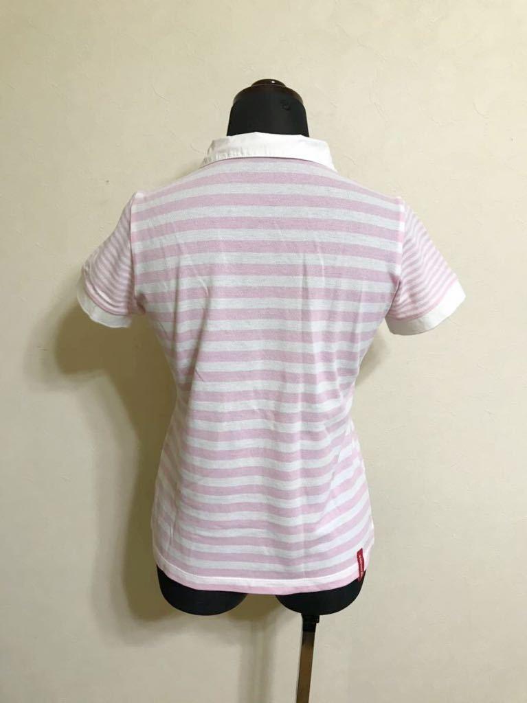 le coq sportif GOLF ルコック ゴルフ レディース ボーダー 鹿の子 ポロシャツ トップス サイズM 半袖 白 ピンク QGL1727 デサント_画像2