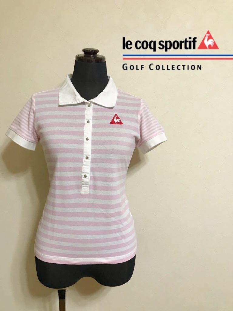 le coq sportif GOLF ルコック ゴルフ レディース ボーダー 鹿の子 ポロシャツ トップス サイズM 半袖 白 ピンク QGL1727 デサント_画像1