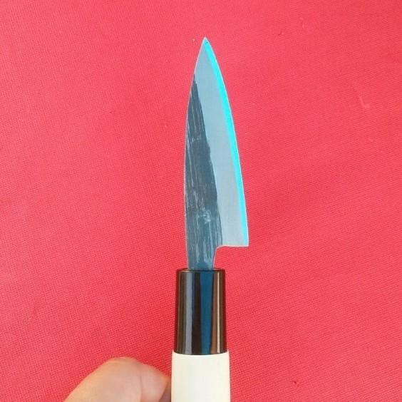 小魚料理に大活躍☆驚異の切れ味!【新品】極小出刃包丁 2寸5分 青紙鋼 手打