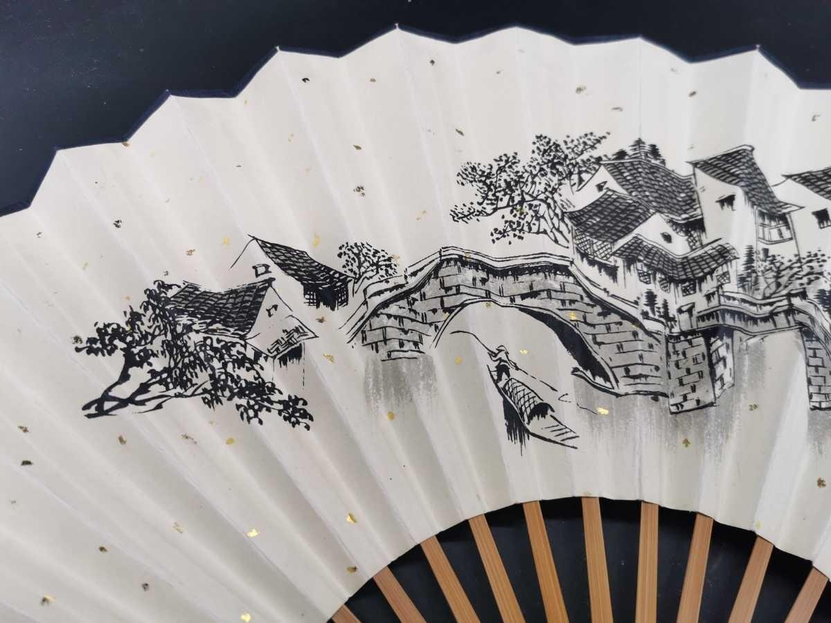 中国古美術 水墨画 書 掛軸 卷軸 掛け軸 扇子 扇面 竹扇_画像3