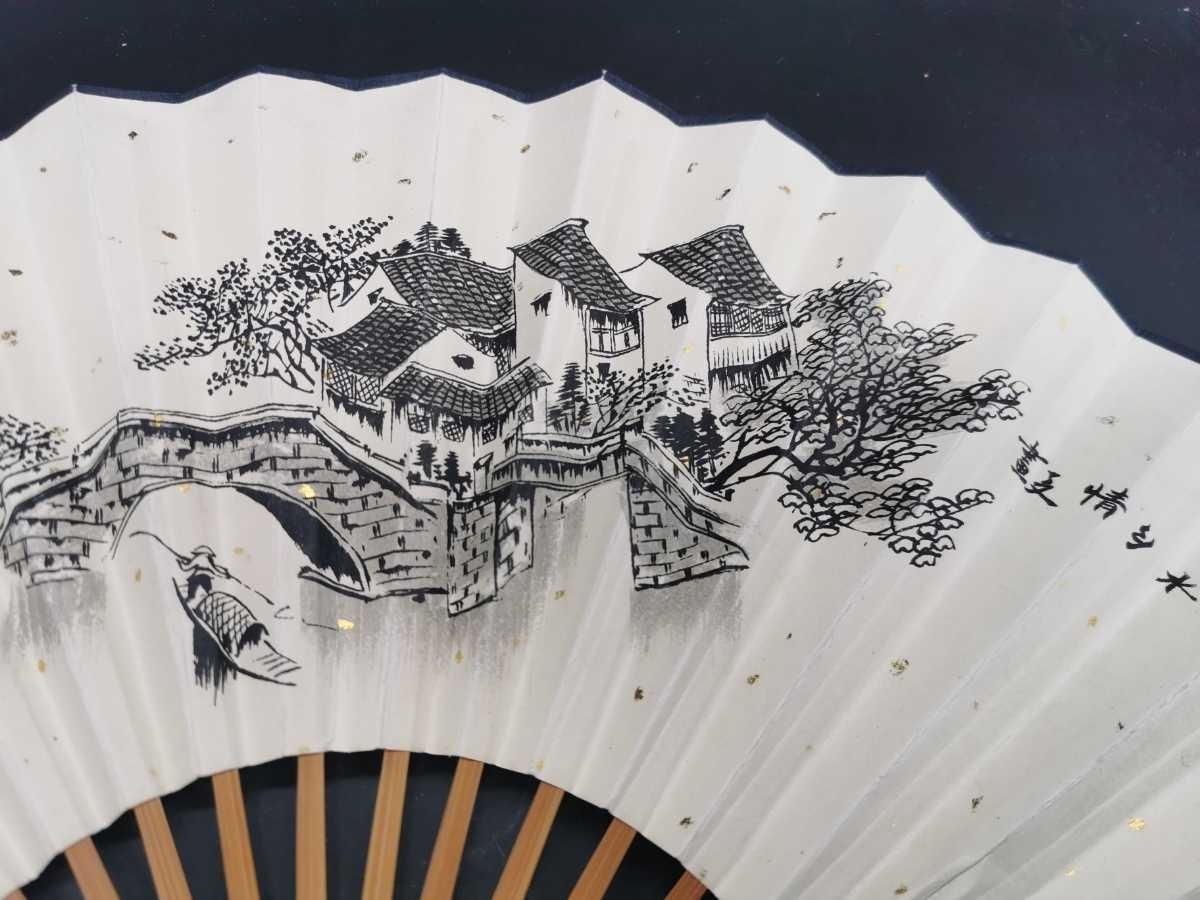 中国古美術 水墨画 書 掛軸 卷軸 掛け軸 扇子 扇面 竹扇_画像2