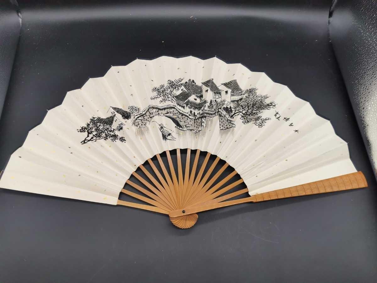 中国古美術 水墨画 書 掛軸 卷軸 掛け軸 扇子 扇面 竹扇_画像1