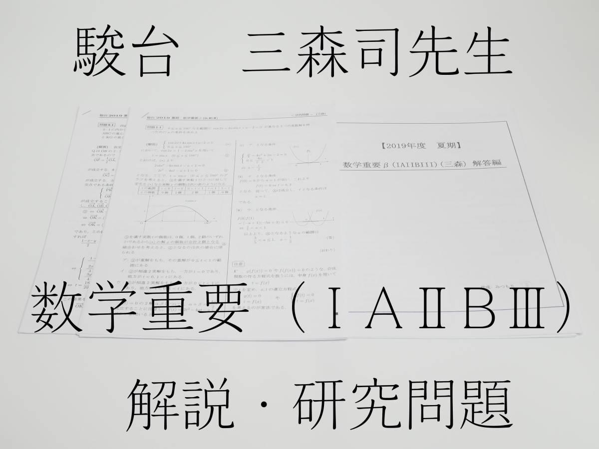駿台 19年度夏期 三森司先生 数学重要β(ⅠAⅡBⅢ)講義問題・研究問題解説