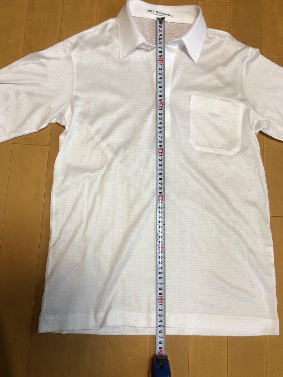 ポロシャツ、ビルロジャーズ、ゴルフシャツ、白、M.小さめ