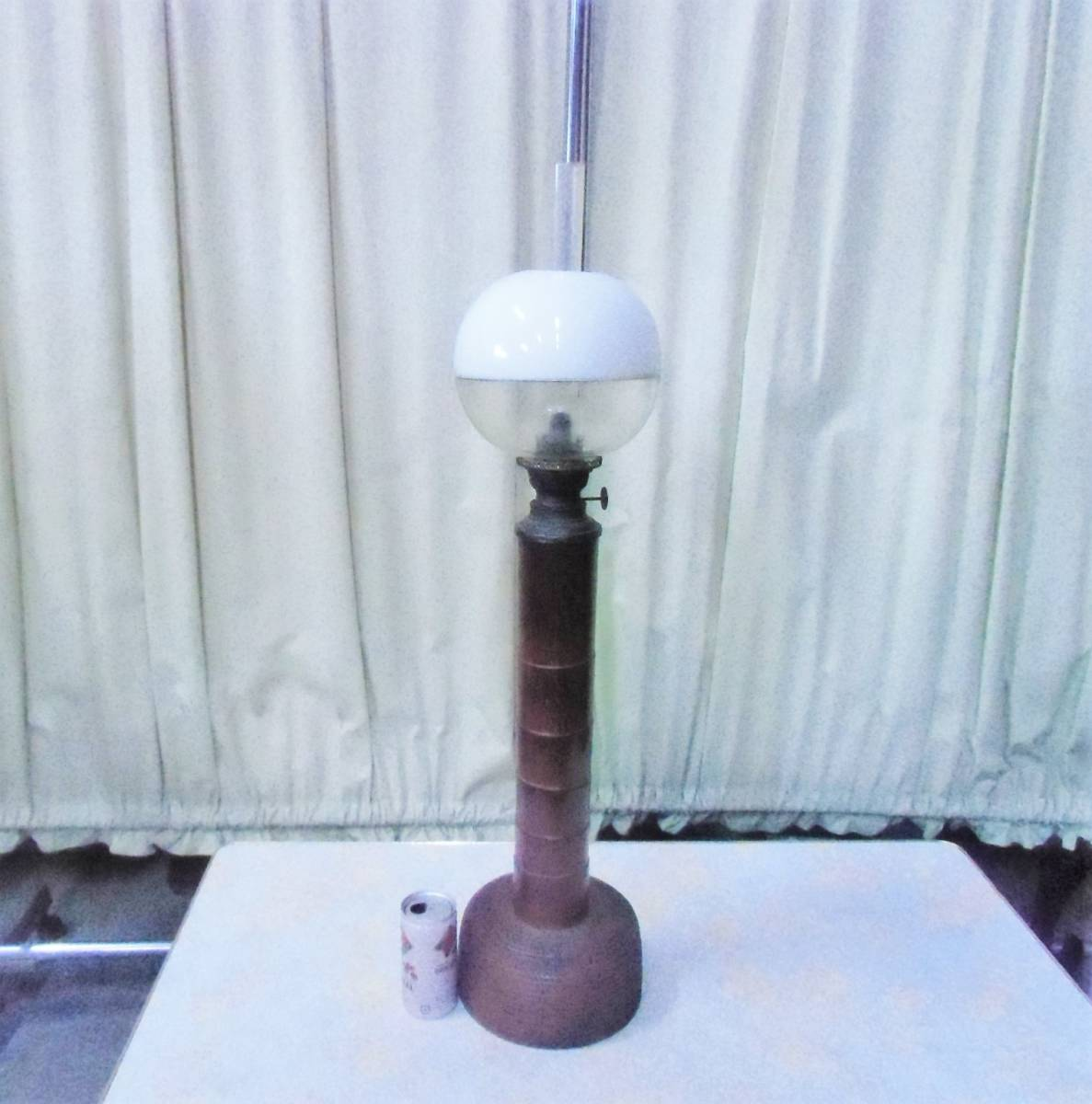 ▲モ-685 アルコールランプ 明治時代 中古 照明器 オイルランプ アンティーク ※寸法は画像下参照_高さ76cm台座18×18cm重さ2.7kg