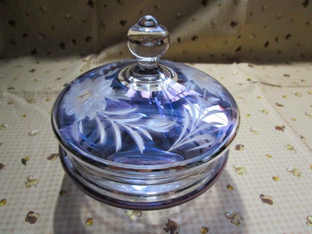 #Bohemian Glass「ボヘミアグラス 菓子器~直径14cm」~高さ15cm 箱付き 外箱に傷みあり