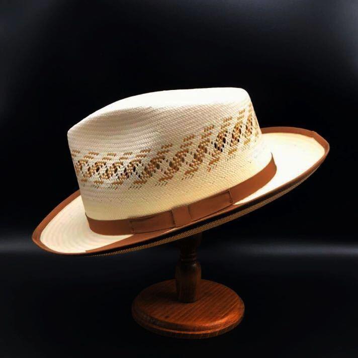 アメリカ製 STETSON 新品 未使用 ステットソン パナマ ハット 61cm 中折れ パナマ ブレード 白 ホワイト ビンテージ 帽子 白1_画像2