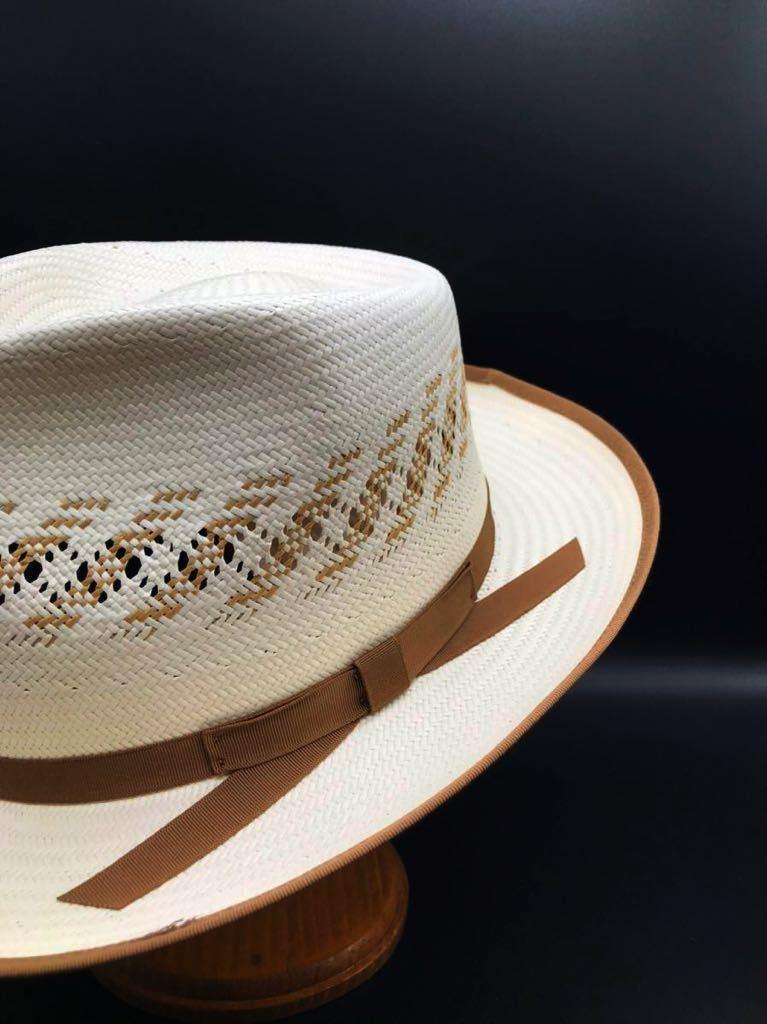 アメリカ製 STETSON 新品 未使用 ステットソン パナマ ハット 61cm 中折れ パナマ ブレード 白 ホワイト ビンテージ 帽子 白1_画像3