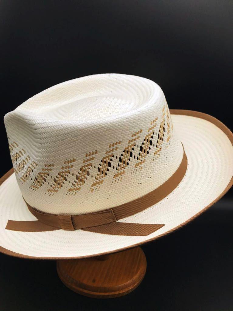 アメリカ製 STETSON 新品 未使用 ステットソン パナマ ハット 61cm 中折れ パナマ ブレード 白 ホワイト ビンテージ 帽子 白1_画像5
