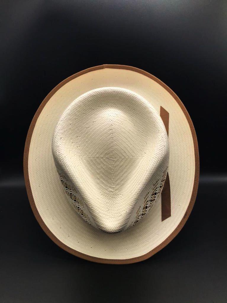 アメリカ製 STETSON 新品 未使用 ステットソン パナマ ハット 61cm 中折れ パナマ ブレード 白 ホワイト ビンテージ 帽子 白1_画像6