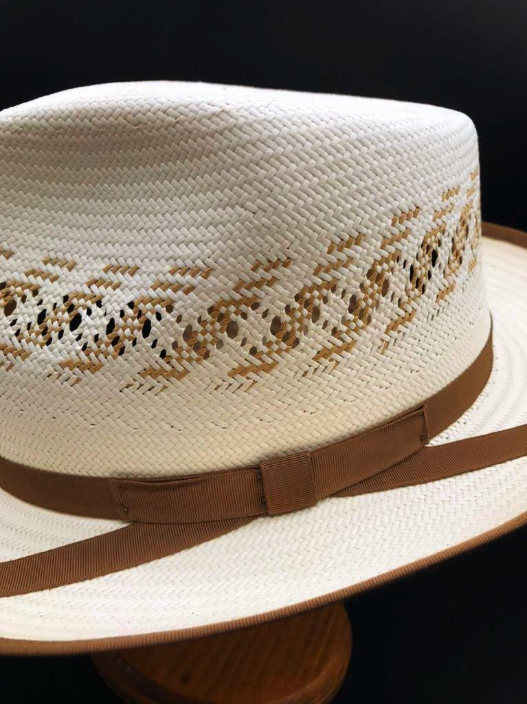 アメリカ製 STETSON 新品 未使用 ステットソン パナマ ハット 61cm 中折れ パナマ ブレード 白 ホワイト ビンテージ 帽子 白1_画像4