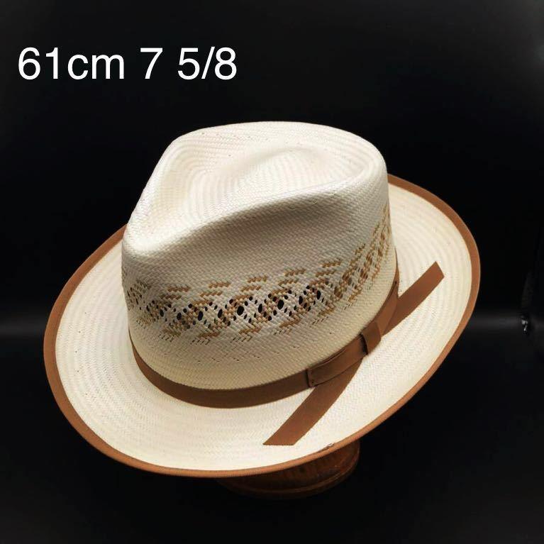 アメリカ製 STETSON 新品 未使用 ステットソン パナマ ハット 61cm 中折れ パナマ ブレード 白 ホワイト ビンテージ 帽子 白1_画像1