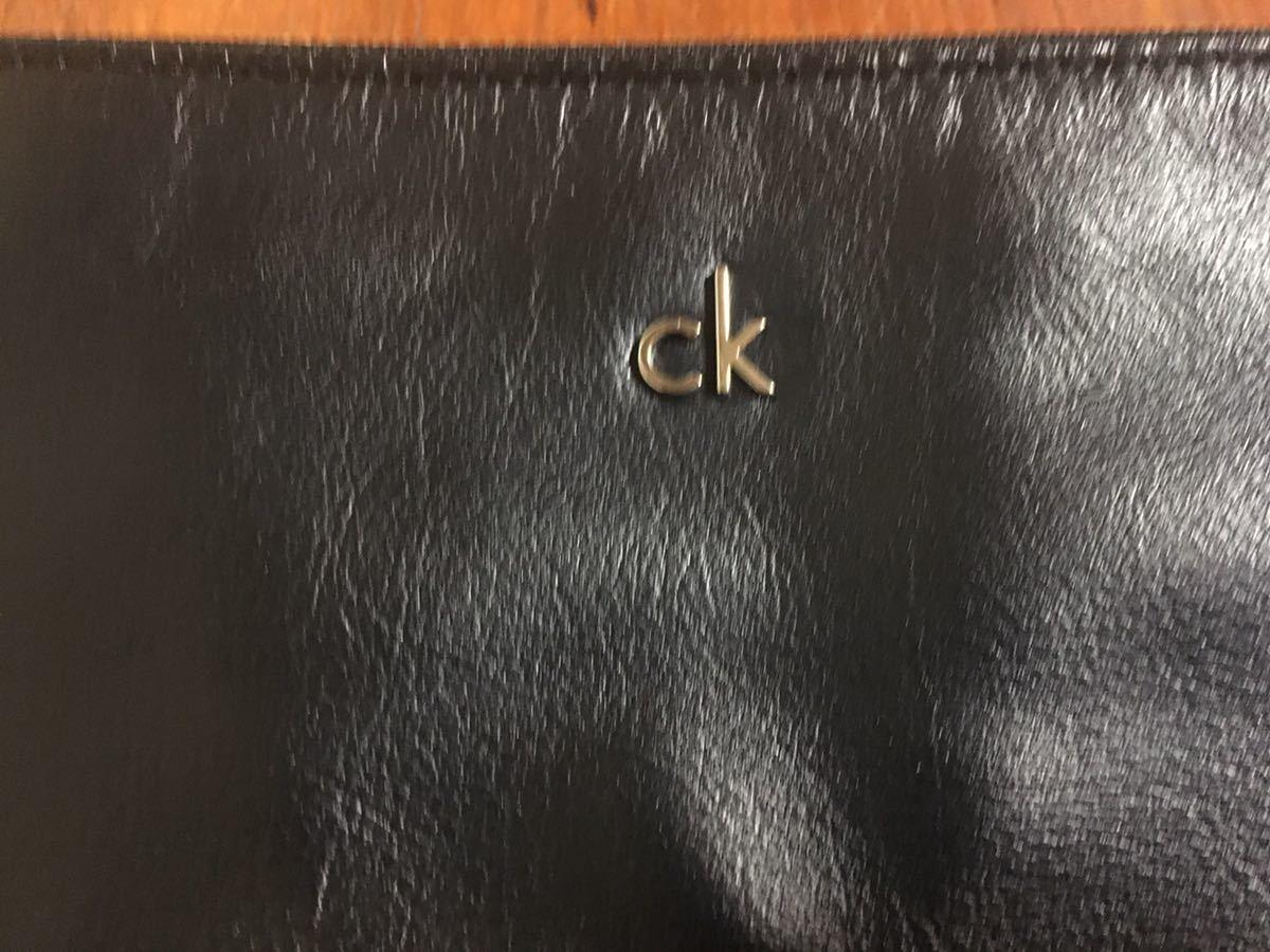 美品 カルバンクライン CK レザー クラッチバッグ ショルダーパック セカンドバック ブラック_画像3