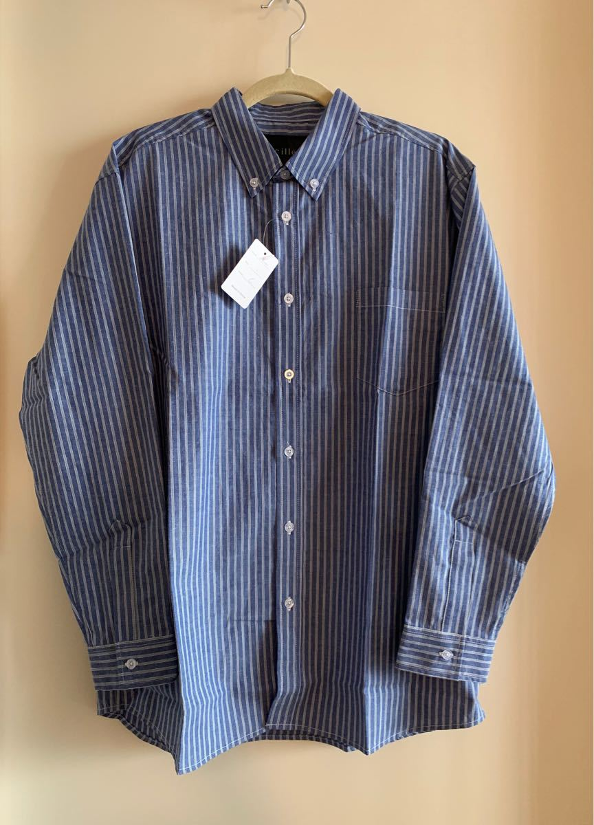 未使用品 綿100% メンズ 長袖 ストライプ ボタンダウンシャツ L
