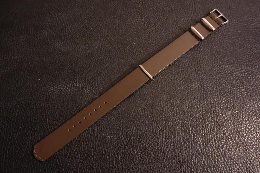 ◆レザーNATO G10ストラップ◆ オイルドカーフレザー ブラウン 18mm 強力撥水 新品 日本製 本革 黒 ミリタリー ブレスレット 腕時計ベルト_画像1