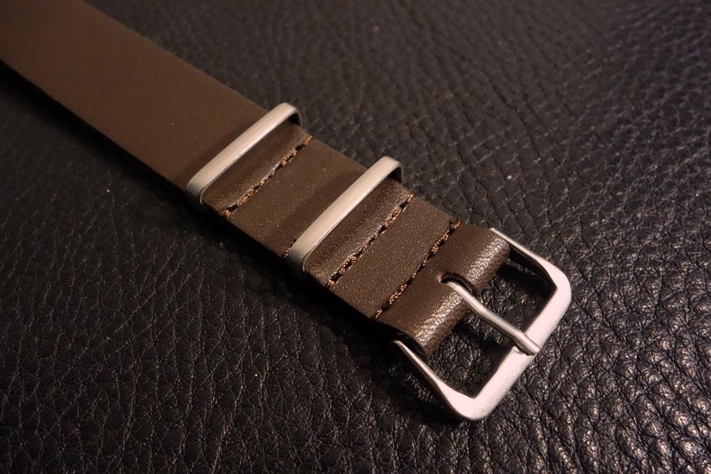 ◆レザーNATO G10ストラップ◆ オイルドカーフレザー ブラウン 18mm 強力撥水 新品 日本製 本革 黒 ミリタリー ブレスレット 腕時計ベルト_画像3