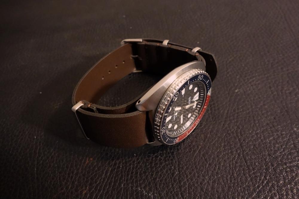 ◆レザーNATO G10ストラップ◆ オイルドカーフレザー ブラウン 18mm 強力撥水 新品 日本製 本革 黒 ミリタリー ブレスレット 腕時計ベルト_画像8