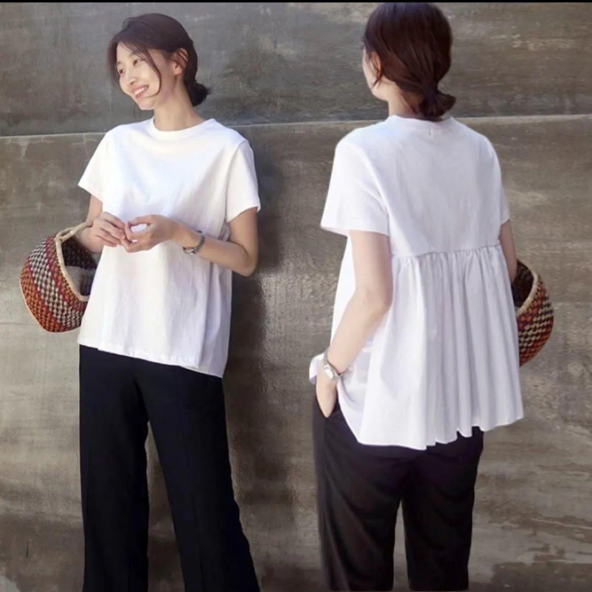 ★新品★Tシャツ 半袖 レディース カットソー トップス バックフレア 白 M