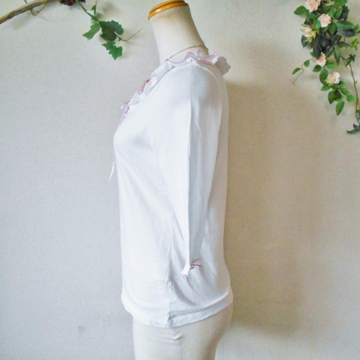 レストローズ LEST ROSE はしご リボン & フリル の 可愛い 7分袖 カットソー 日本製 M_画像6