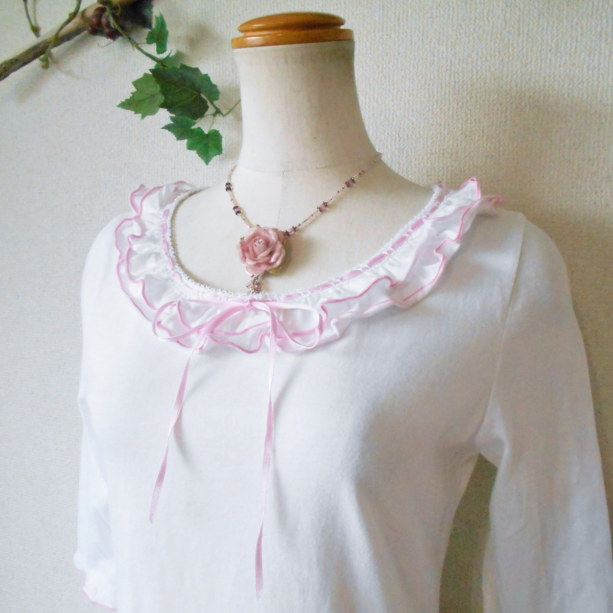 レストローズ LEST ROSE はしご リボン & フリル の 可愛い 7分袖 カットソー 日本製 M_画像3
