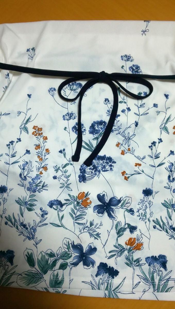 カットソー ノースリーブ チュニック サックス 花柄 紐付 Lサイズ