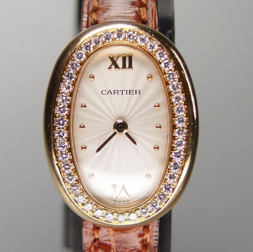 【超希少 純正ダイヤベゼル YGケース コンプリート済】Cartier Mini BAIGNOIRE ミニ ベニュワール QZ レディース 腕時計 修理証明書付_純正ダイヤモンドベゼル x K18YGケース